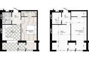 ЖК Sea Town: планування 1-кімнатної квартири 45.21 м²