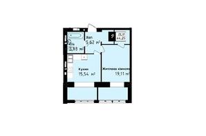 ЖК Sea Town: планування 1-кімнатної квартири 44.25 м²
