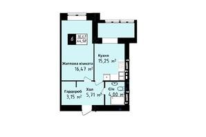 ЖК Sea Town: планування 1-кімнатної квартири 44.58 м²