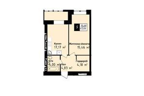ЖК Sea Town: планування 1-кімнатної квартири 45.64 м²