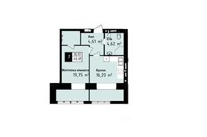 ЖК Sea Town: планування 1-кімнатної квартири 45.18 м²