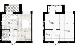 ЖК Sea Town: планування 1-кімнатної квартири 42.08 м²