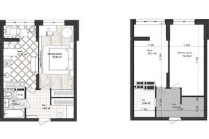ЖК Sea Town: планування 1-кімнатної квартири 39.79 м²