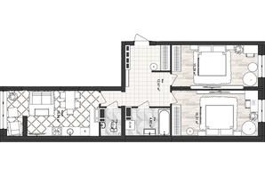 ЖК Sea Town: планування 2-кімнатної квартири 67.68 м²
