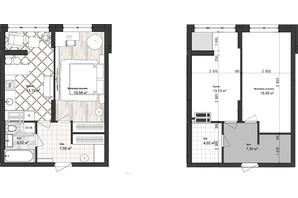 ЖК Sea Town: планування 1-кімнатної квартири 40.28 м²