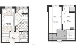ЖК Sea Town: планування 1-кімнатної квартири 40.5 м²