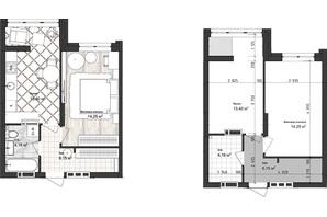 ЖК Sea Town: планування 1-кімнатної квартири 37.96 м²