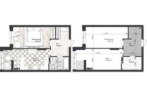 ЖК Sea Town: планування 1-кімнатної квартири 43.06 м²