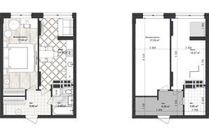 ЖК Sea Town: планування 1-кімнатної квартири 42.72 м²