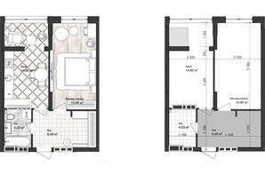 ЖК Sea Town: планування 1-кімнатної квартири 43.97 м²