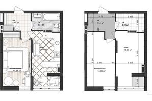 ЖК Sea Town: планування 1-кімнатної квартири 39.02 м²