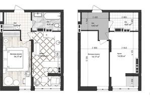 ЖК Sea Town: планування 1-кімнатної квартири 38.7 м²