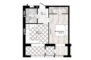 ЖК Sea Town: планировка 1-комнатной квартиры 45.21 м²