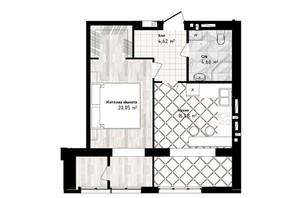 ЖК Sea Town: планировка 1-комнатной квартиры 45.75 м²