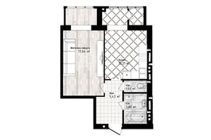 ЖК Sea Town: планировка 1-комнатной квартиры 43.94 м²