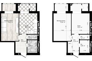 ЖК Sea Town: планировка 1-комнатной квартиры 43.49 м²