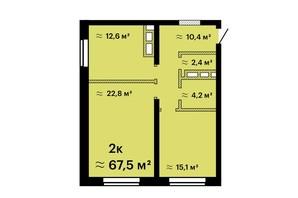 ЖК Sea View: планування 2-кімнатної квартири 67.5 м²