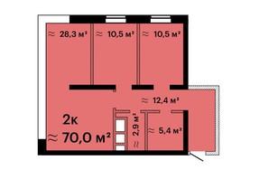 ЖК Sea View: планування 2-кімнатної квартири 70 м²