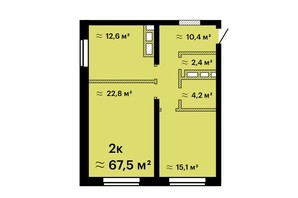 ЖК Sea View: планировка 2-комнатной квартиры 67.5 м²