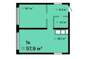 ЖК Sea View: планировка 1-комнатной квартиры 57.9 м²