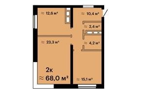 ЖК Sea View: планировка 2-комнатной квартиры 68 м²