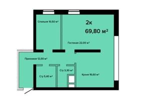 ЖК Sea View: планировка 2-комнатной квартиры 69.8 м²