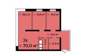 ЖК Sea View: планировка 2-комнатной квартиры 70 м²
