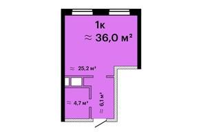 ЖК Sea View: планировка 1-комнатной квартиры 35.8 м²