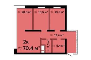 ЖК Sea View: планировка 2-комнатной квартиры 70.4 м²