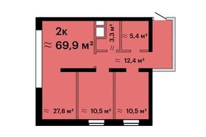 ЖК Sea View: планировка 2-комнатной квартиры 69.9 м²