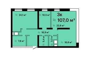 ЖК Sea View: планировка 3-комнатной квартиры 107 м²