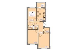 ЖК Седьмое небо: планировка 3-комнатной квартиры 73.29 м²