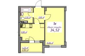 ЖК Седьмое небо: планировка 1-комнатной квартиры 34.52 м²