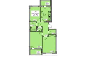 ЖК Седьмое небо: планировка 3-комнатной квартиры 75.75 м²