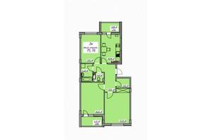 ЖК Седьмое небо: планировка 3-комнатной квартиры 75.76 м²