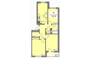 ЖК Седьмое небо: планировка 3-комнатной квартиры 76.19 м²