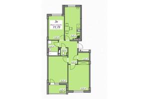 ЖК Седьмое небо: планировка 3-комнатной квартиры 77.79 м²