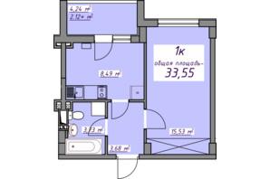 ЖК Седьмое небо: планировка 1-комнатной квартиры 33.55 м²