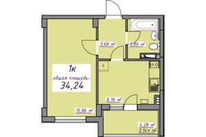 ЖК Седьмое небо: планировка 1-комнатной квартиры 34.24 м²