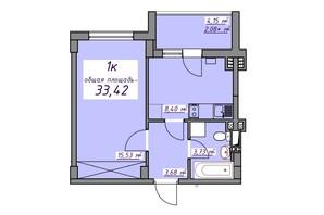 ЖК Седьмое небо: планировка 1-комнатной квартиры 33.42 м²