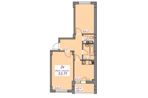 ЖК Седьмое небо: планировка 2-комнатной квартиры 53.7 м²