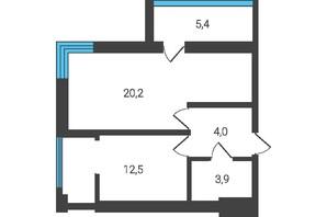 ЖК Семейная Крепость.Счастье: планировка 1-комнатной квартиры 41 м²