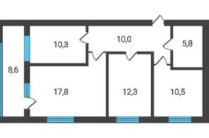 ЖК Семейная Крепость.Счастье: планировка 3-комнатной квартиры 80.44 м²