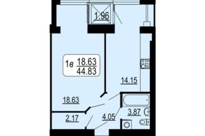 ЖК Семейный Comfort: планировка 1-комнатной квартиры 44.83 м²