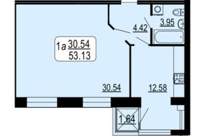 ЖК Семейный Comfort: планировка 1-комнатной квартиры 53.13 м²