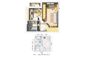 ЖК Семейный Городок: планировка 1-комнатной квартиры 34.8 м²