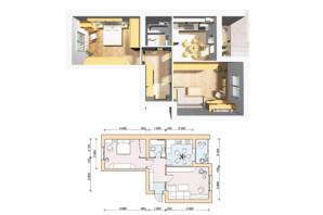ЖК Семейный Городок: планировка 2-комнатной квартиры 57.1 м²