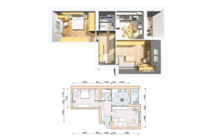 ЖК Семейный Городок: планировка 2-комнатной квартиры 57.2 м²