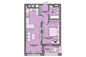 ЖК Семицвет: планировка 1-комнатной квартиры 49.51 м²