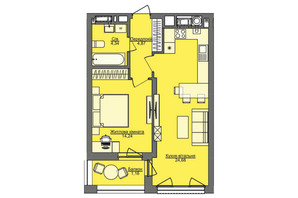 ЖК Семицвет: планировка 1-комнатной квартиры 49.29 м²